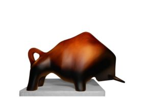 Wood Sculpture - Bull Sculpture