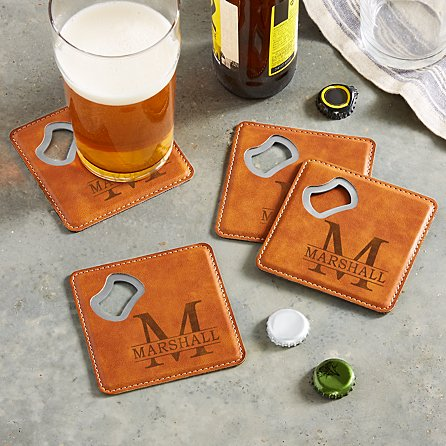 Housewarming Gift - Personalized Coasters with Bottle Opener