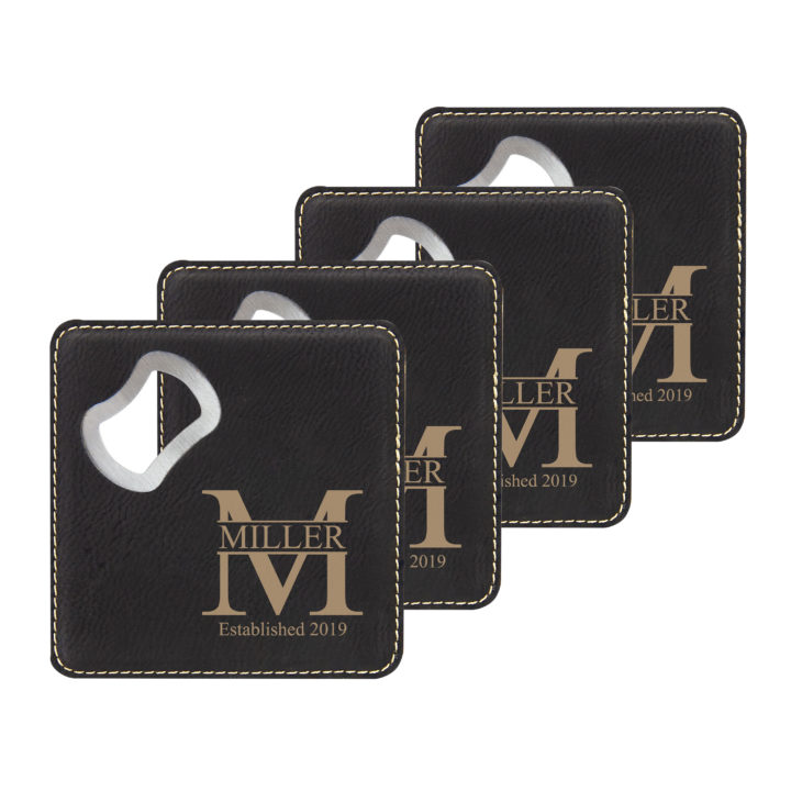 faux leather leatherette coaster set with metal bottle opener