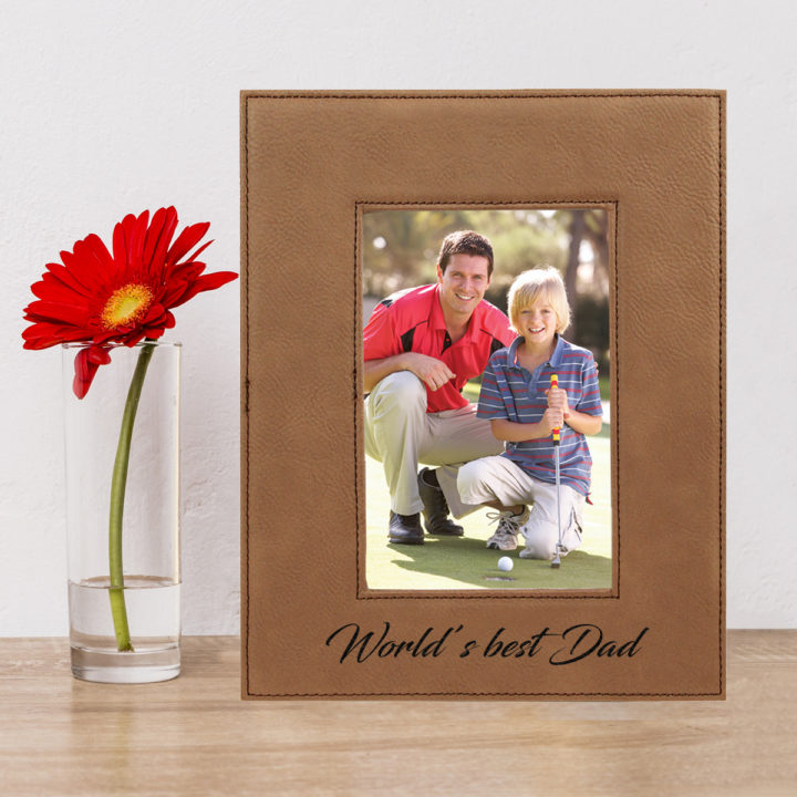 custom engraved faux leather photo frame 4x6