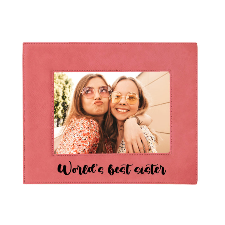 custom engraved faux leather photo frame 5x7
