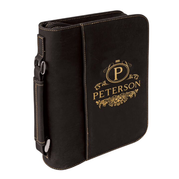 personalized laser engraved faux leather bible cover with handle and zipper