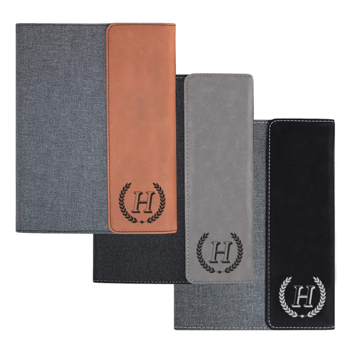 custom laser engraved canvas and leatherette faux leather portfolio with notepad