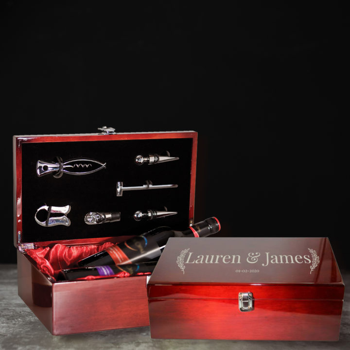 personalized custom laser engraved rosewood double wine bottle box with tools
