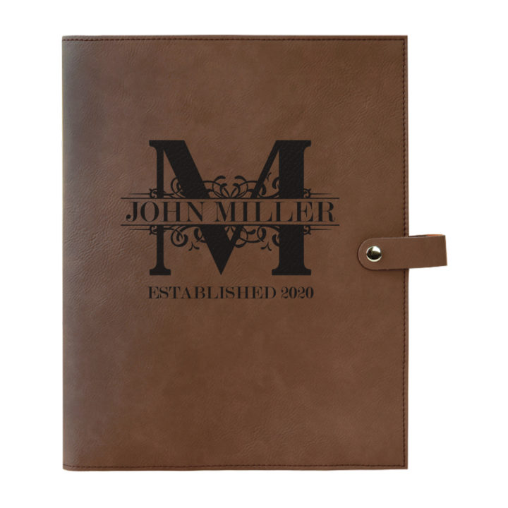 personalized laser engraved faux leather bible cover with clip closure