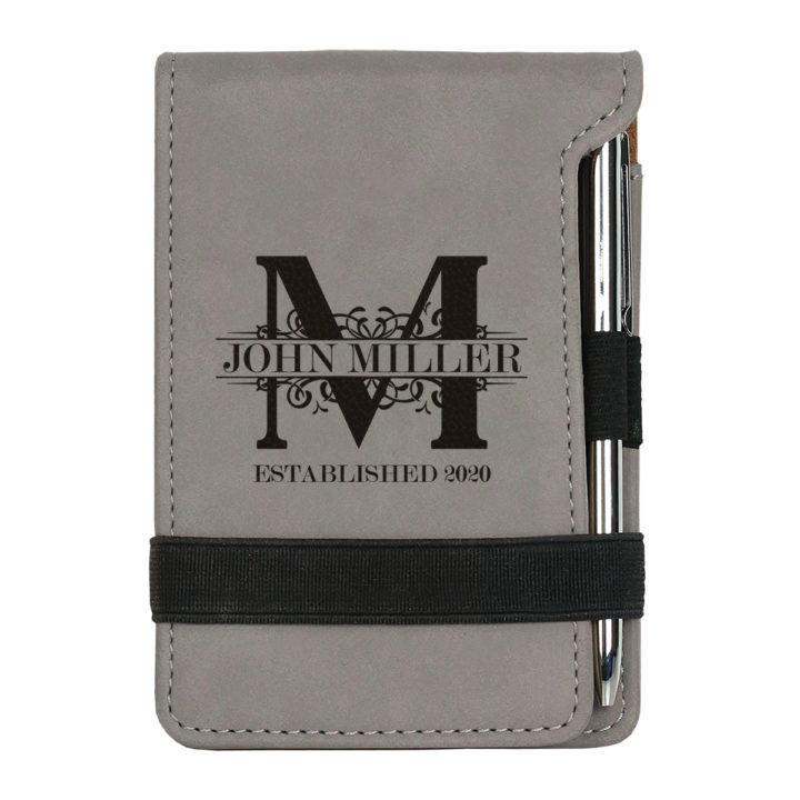 personalized faux leather mini notepad with pen