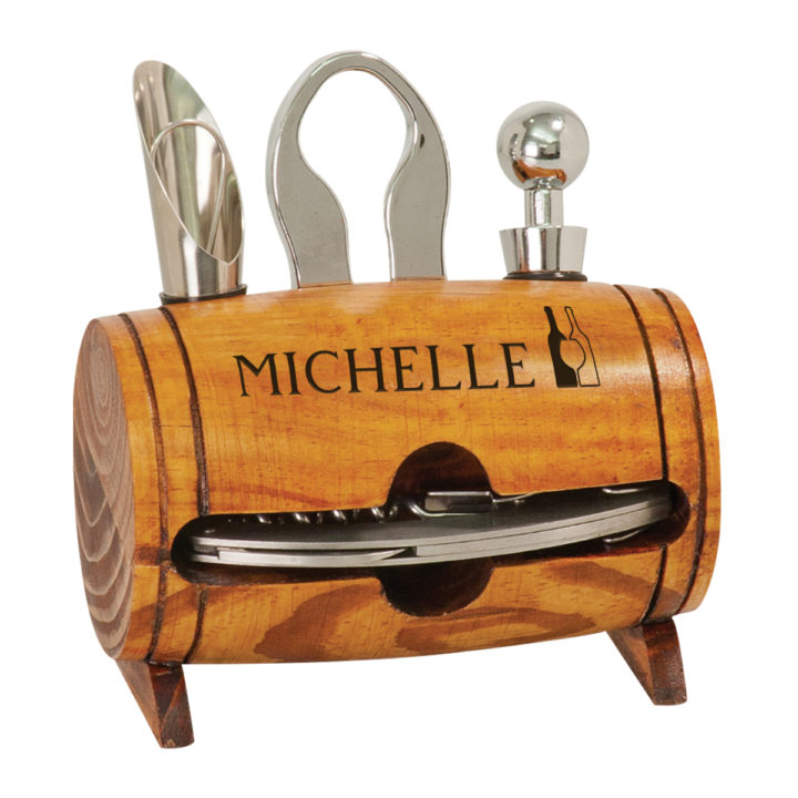 Personalized laser engraved 4 piece wine tool wood barrel